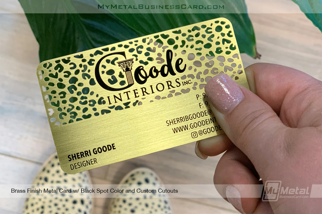 Brass-Finish-Business-Card-with-Custom-Leopard-Print-Cutout-Pattern-for-Designer