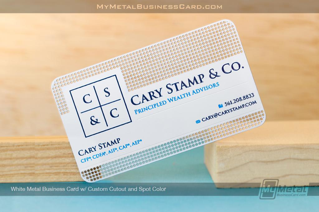 White-Metal-Business-Card-Custom-Cutout-Spot-Color-CSC-Wealth-Law