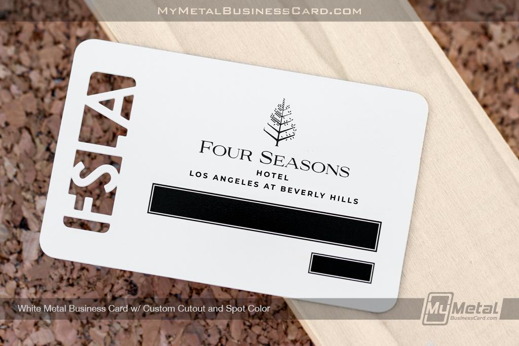 White-Metal-Business-Card-Custom-Cutout-Spot-Color-Four-Seasons
