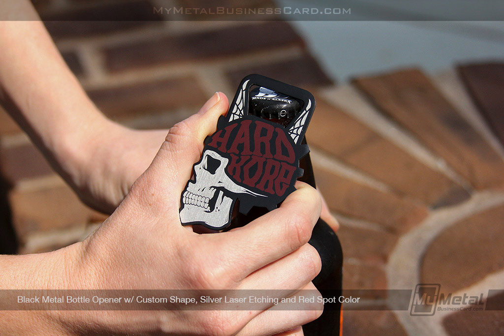 Black-Metal-Bottle-Opener-Business-Card-With-Custom-Shape-And-Red-Screen-Printing