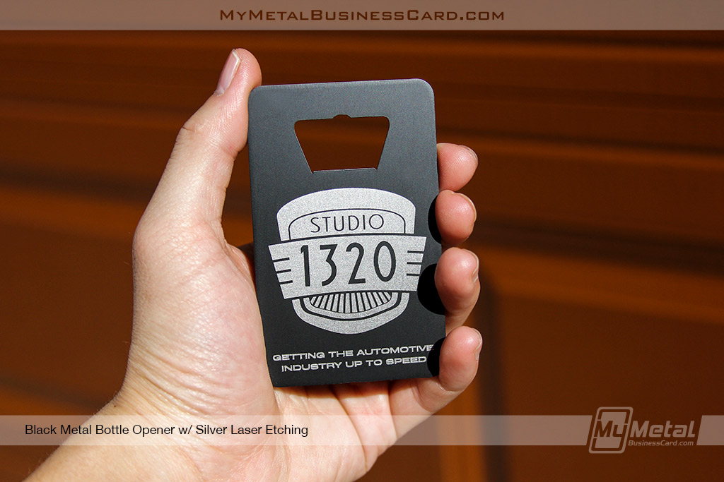 Black-Metal-Bottle-Opener-Business-Card-With-Silver-Laser-Etching