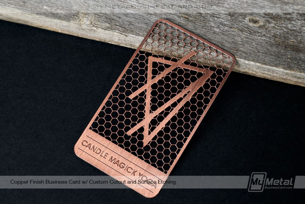 Copper-Finish-Business-Card-Candle-Yoga