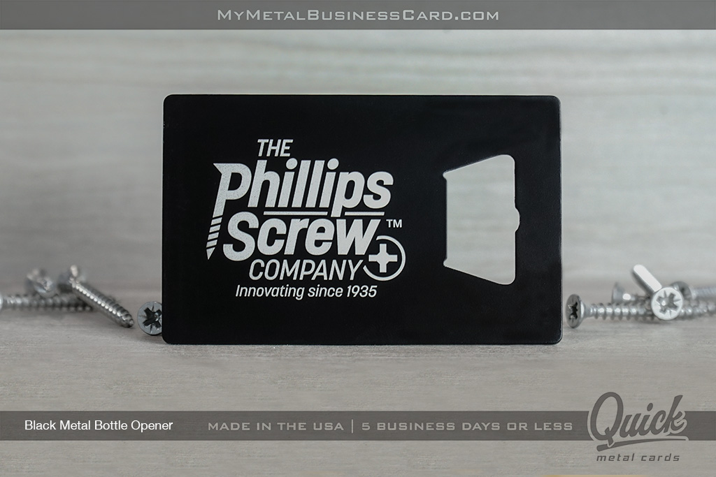 Black-Quick-Metal-Bottle-Opener-Business-Card-For-Phillips-Screw-Company