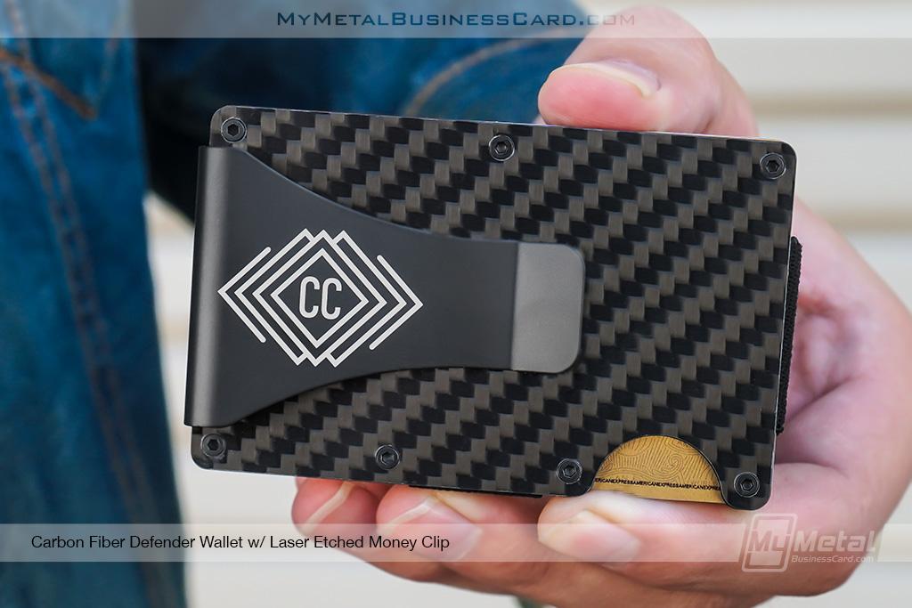 Carbon-Fiber-Defender-Wallet-with-Laser-Etched-Diamond-Monogram-Money-Clip