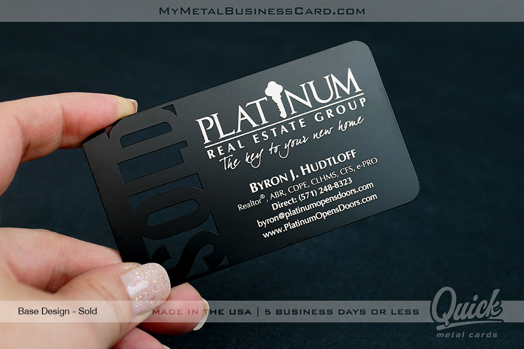 Black-Metal-Quick-Business-Card-with-Sold-Cutout-Perfect-for-Realtors