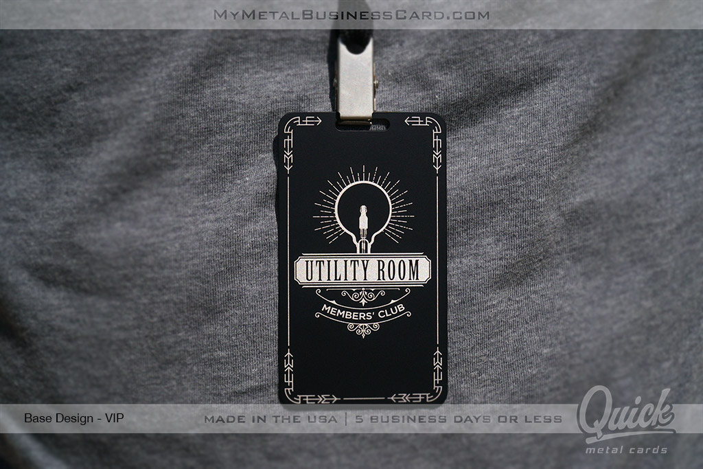 Black-Quick-Metal-VIP-Pass-with-SIlver-Laser-Etching-Members-Only