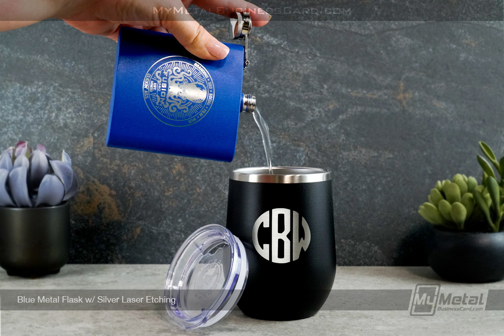 Blue-Metal-Flasks-Silver-Laser-Etching-Fusion-Pouring