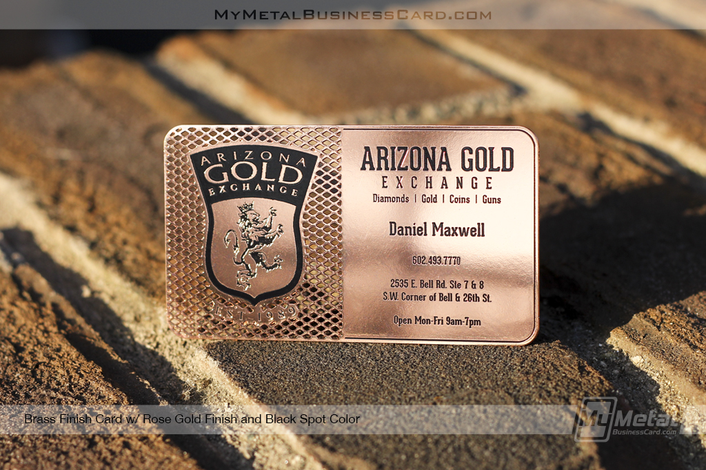 Brass-Finish-Metal-Business-Card-With-Rose-Gold-Finish-And-Black-Spot-Color