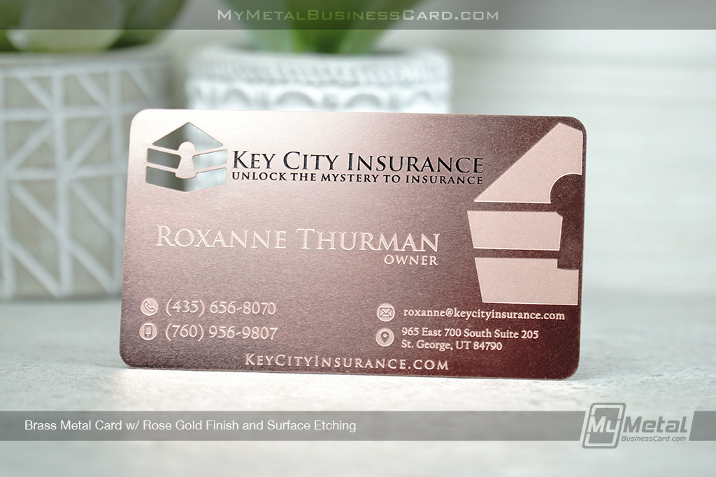 Matte-Rose-Gold-Finish-Metal-Business-Card-with-Custom-Cutout-and-Surface-Etching