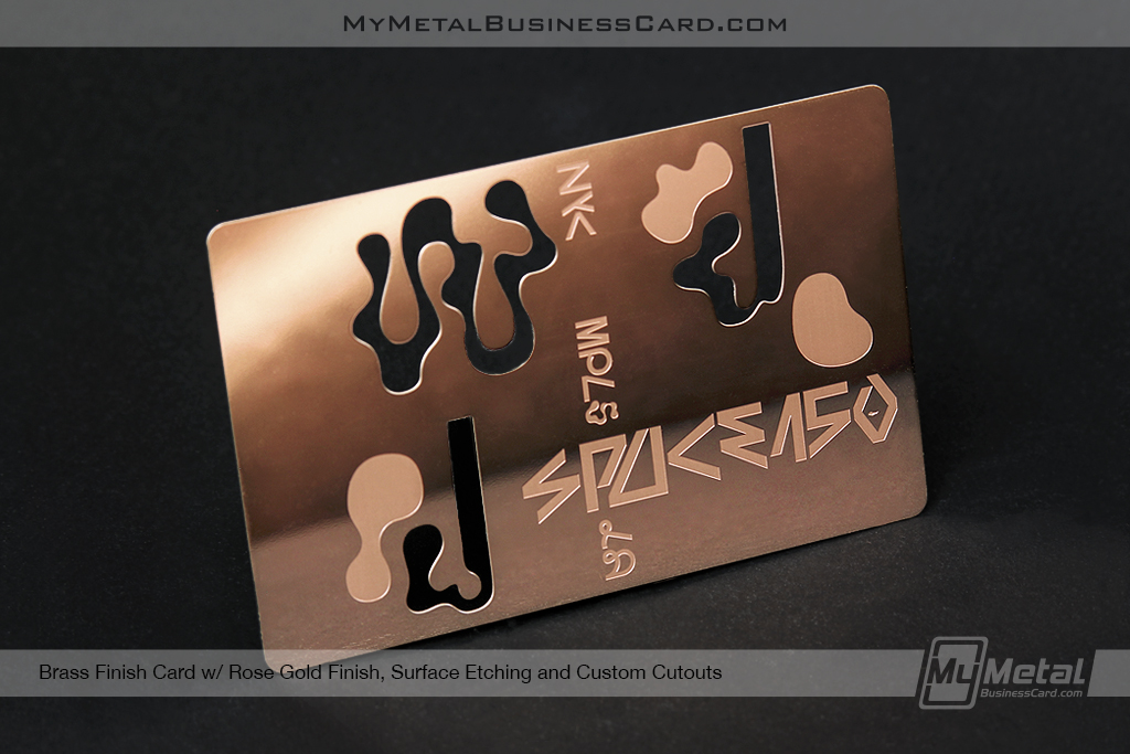 Rose-Gold-Finish-Brass-Metal-Card-Shiny-With-Surface-Etching-and-Cutouts