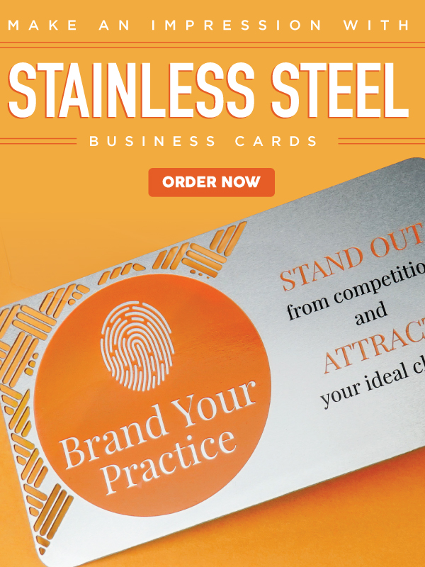Stainless Steel Card On Orange Background