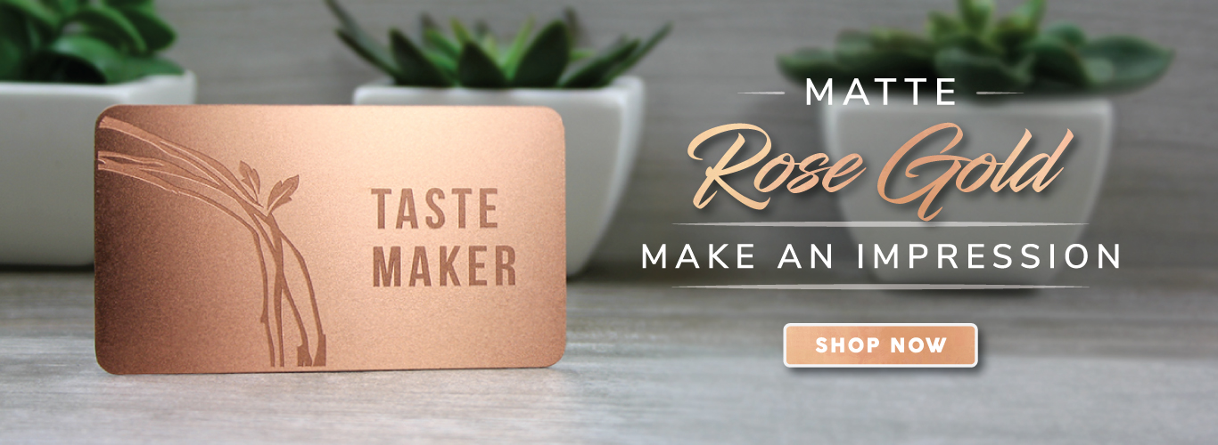 Rose Gold Surface Etched Metal Card with Green plants in background