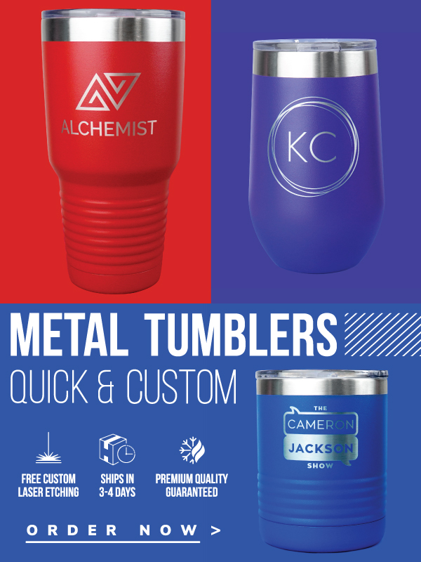 3 Metal Tumblers on same color background as tumbler