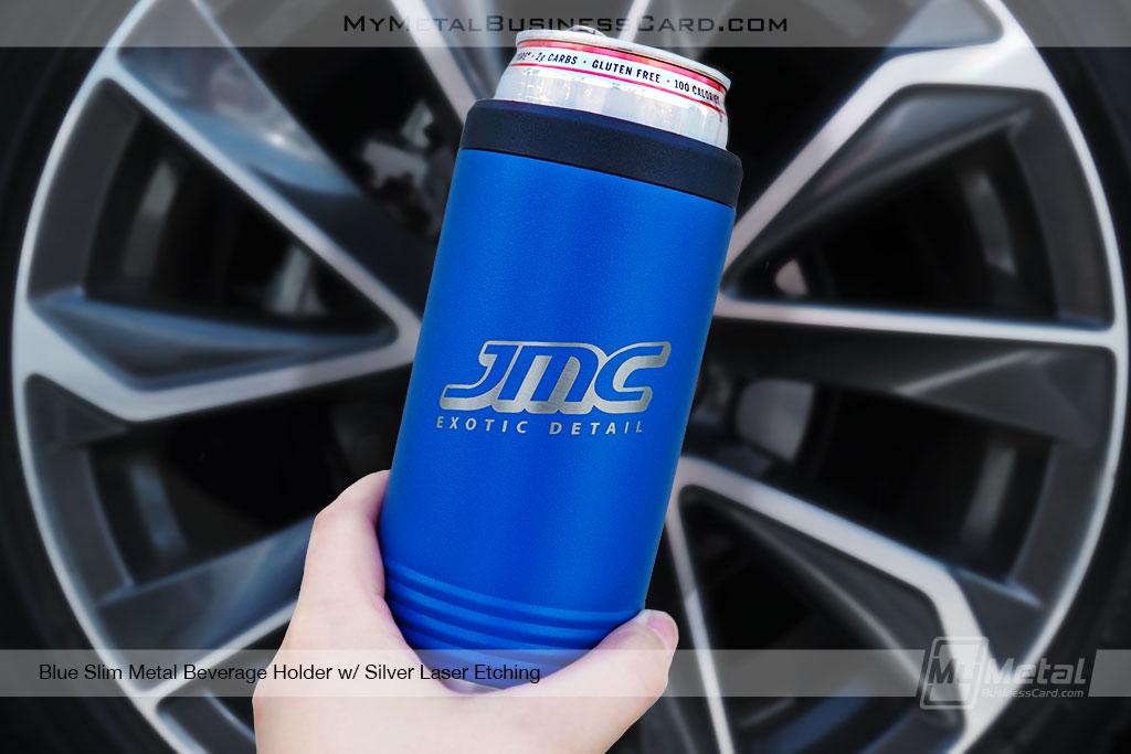 Blue-Slim-Metal-Beverage-Holder-Silver-Laser-Etching-for-detail-company