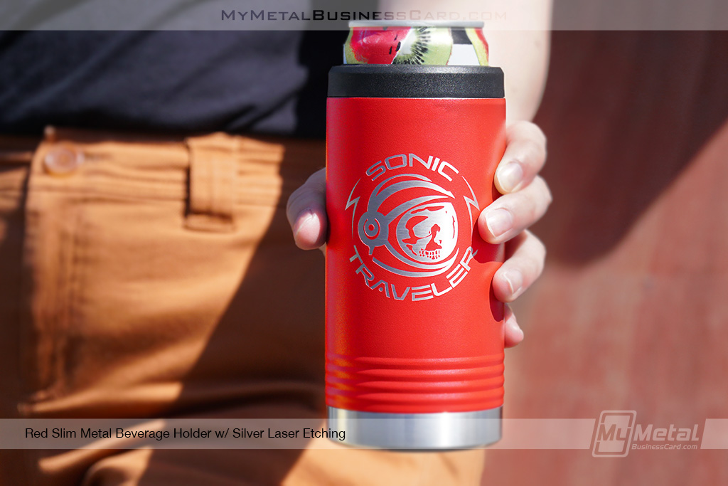 Red-Slim-Metal-Beverage-Holder-Silver-Laser-Etching