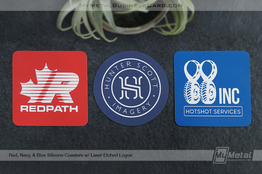 Red-Navy-Blue-Silicone-Coasters-Laser-Etched-Logos
