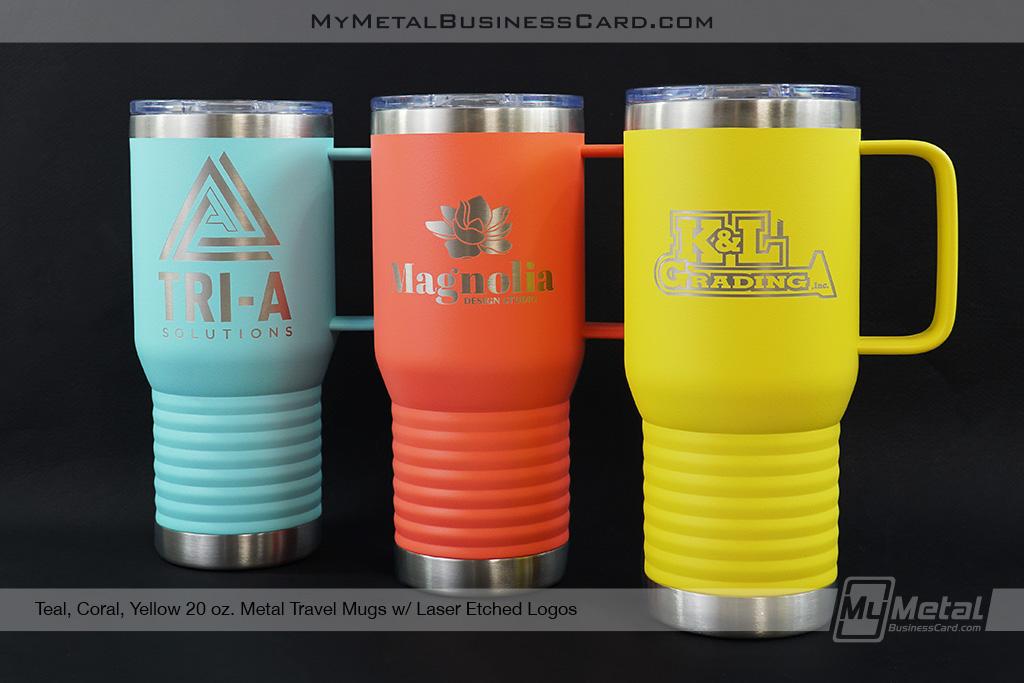 Teal-Coral-Yellow-20-oz-Metal-Travel-Mug-Laser-Etched-Logo