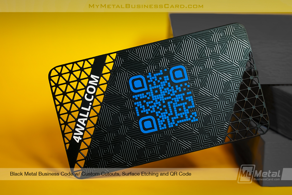 Black-Metal-Business-Card-with-Custom-QR-Code-and-Surface-Etching-Pattern