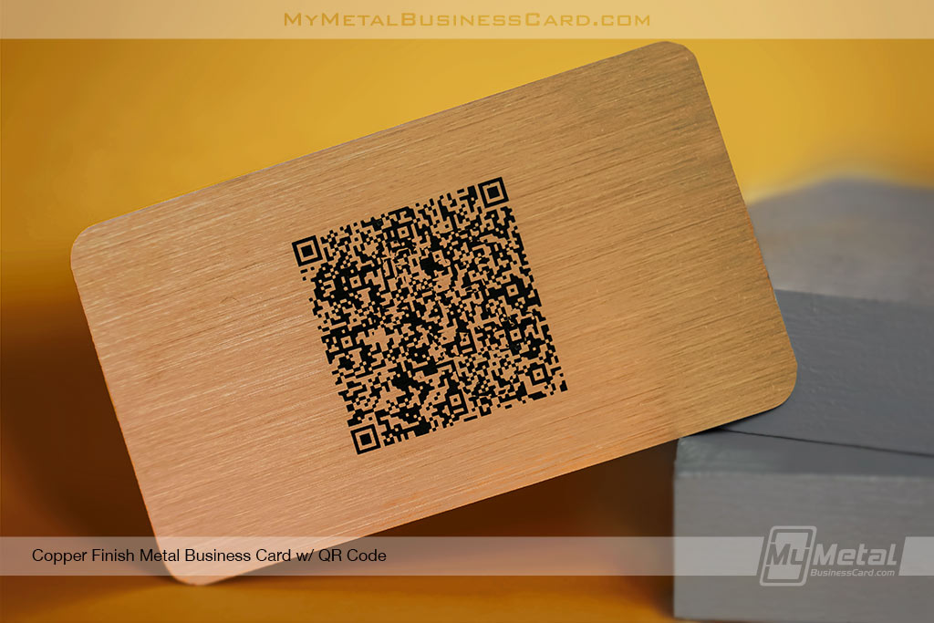 Copper-FInish-Metal-Buisness-Card-with-QR-Code-Printed-Onto-Card