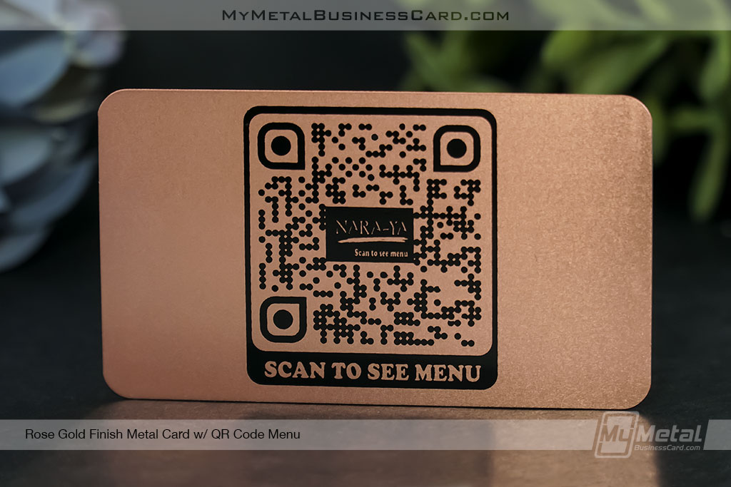 Rose-Gold-Finish-Metal-Table-Card-for-Menu-with-QR-Code