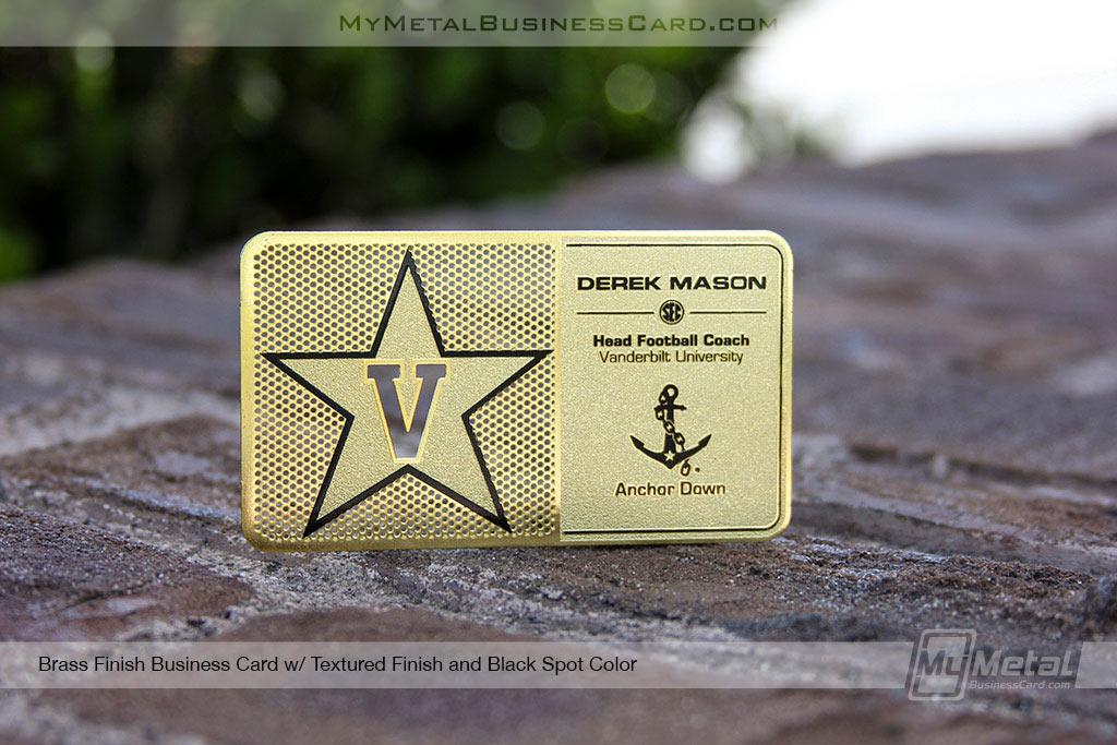 Brass Finish Metal Business Card with black printing and custom star logo for vanderbilt university football coach