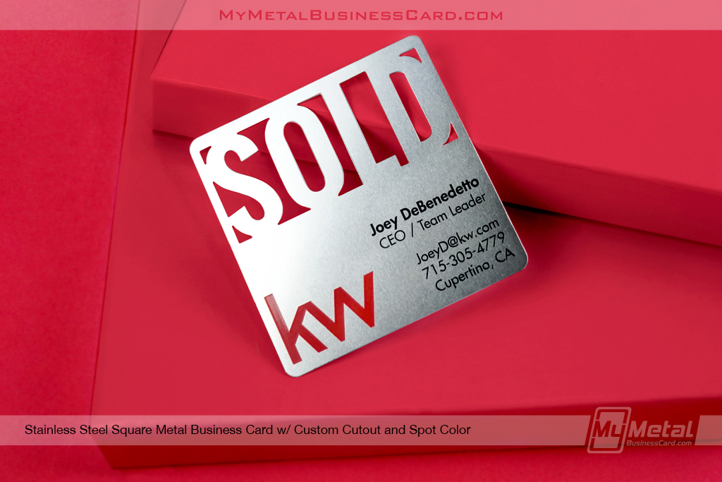 Stainless Steel Square Business Card Custom Cutout Spot Color Keller Williams