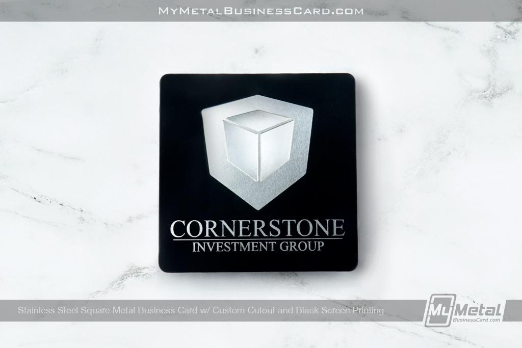 Stainless Steel Square Business Card Custom Cutout Black Screen Print Corner
