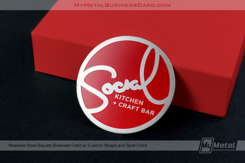 Custom Square Shaped Metal Business Card with Red Spot Color Social Kitchen