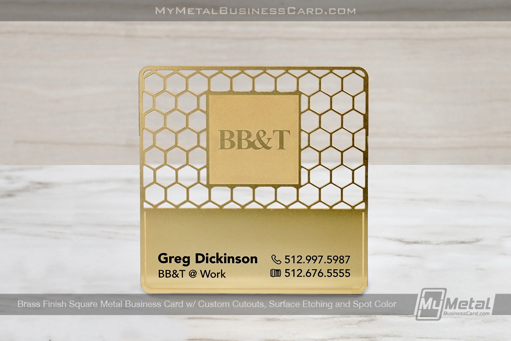 Square Brass Finish Metal Business Card in square shape with unique lettering and hole pattern