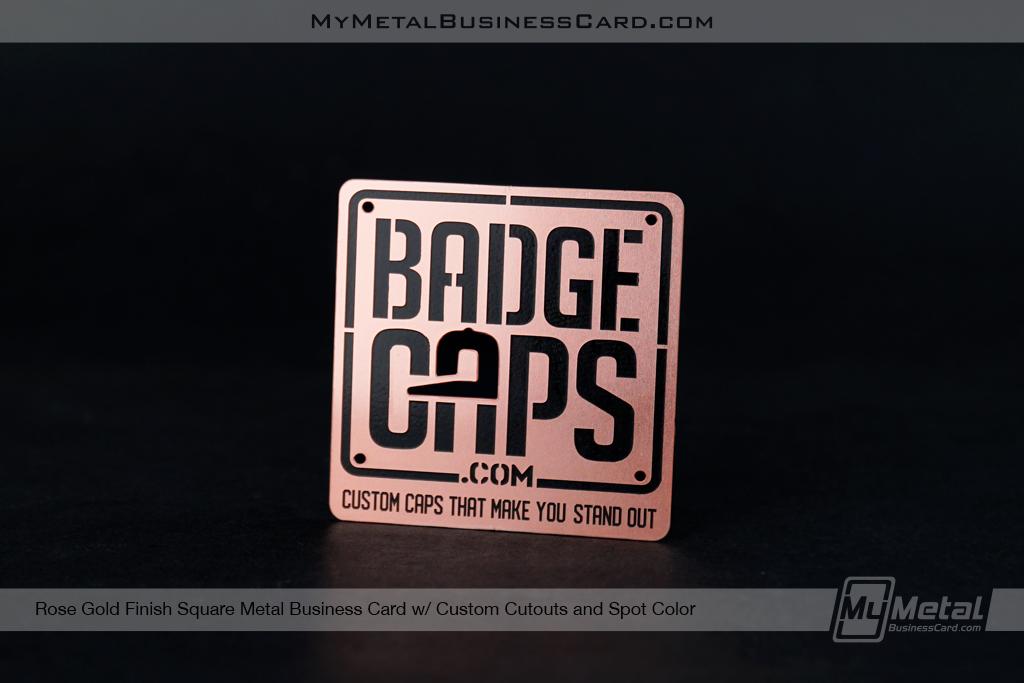Rose Gold Square Business Card Custom Cutout Spot Color Badge Caps