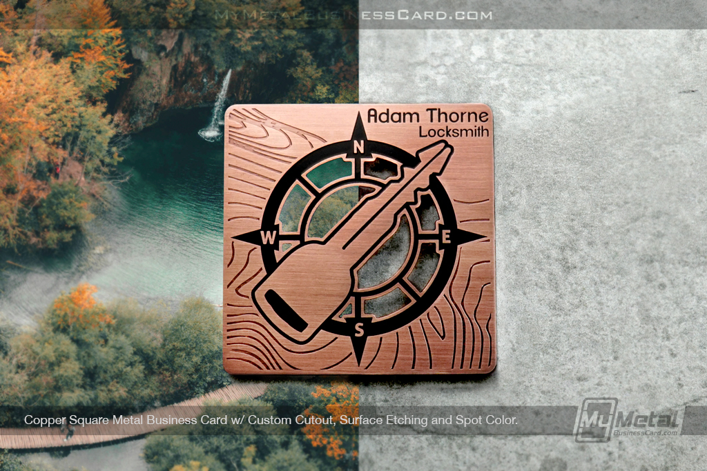 Copper finish square metal business card for locksmith business that's unique with key on front