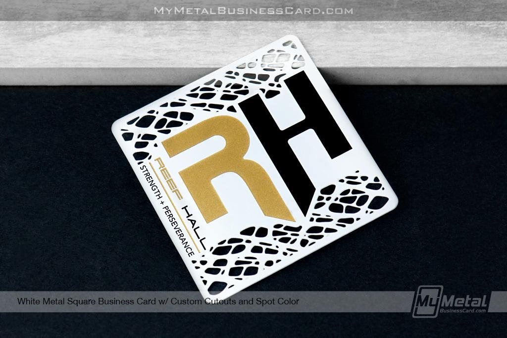 White Metal Square Business Card Custom Cutout Spot Color Spot Color