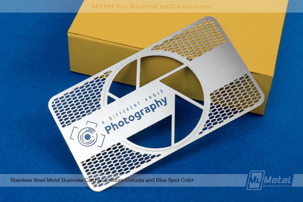 Stainless-Steel-Business-Card-Custom-Blue-Spot-Colors-Photography