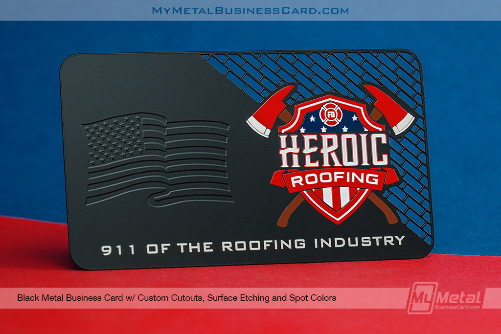 Black-Metal-Business-Card-For-Roofing-Company-with-American-Flag-Embossed-Look