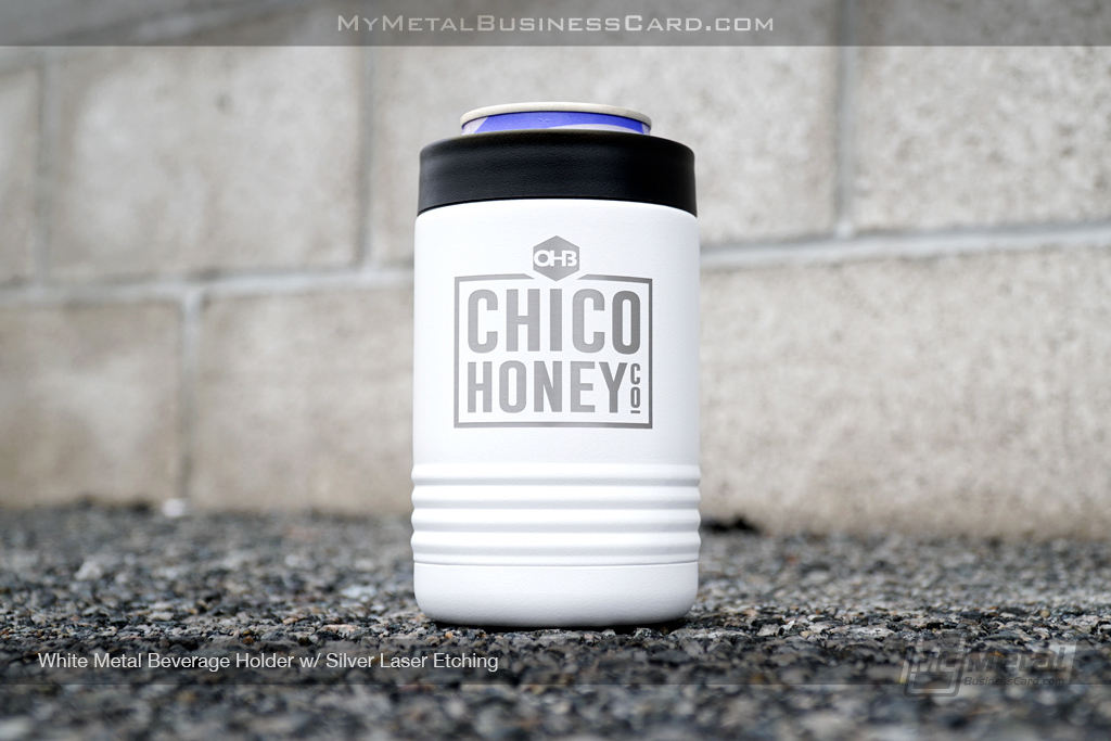 Whitel-Metal-Beverage-Holder-Silver-Laser-Etching-Chico-Honey