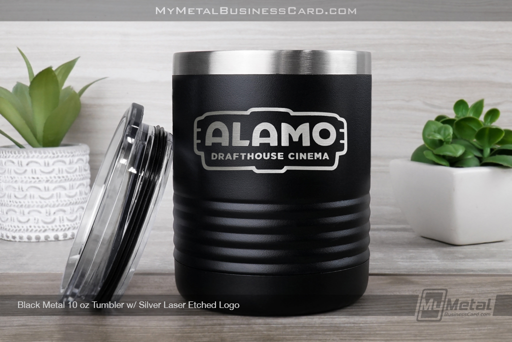 Black-Metal-10-Ounce-Tumbler-With-Custom-Silver-Laser-Etched-Logo