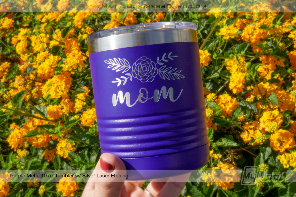 Purple-Metal-10-Ounce-Tumbler-With-Mom-Silver-Laser-Etched-Logo