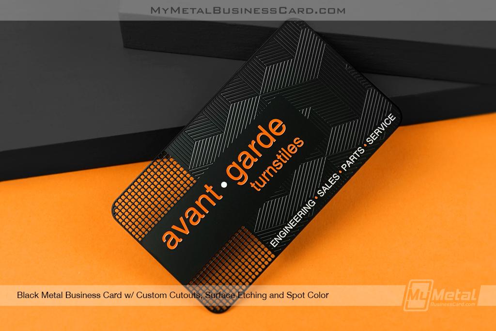 Black-Metal-Business-Card-For-Avant-Garde-Turnstiles-Engineering