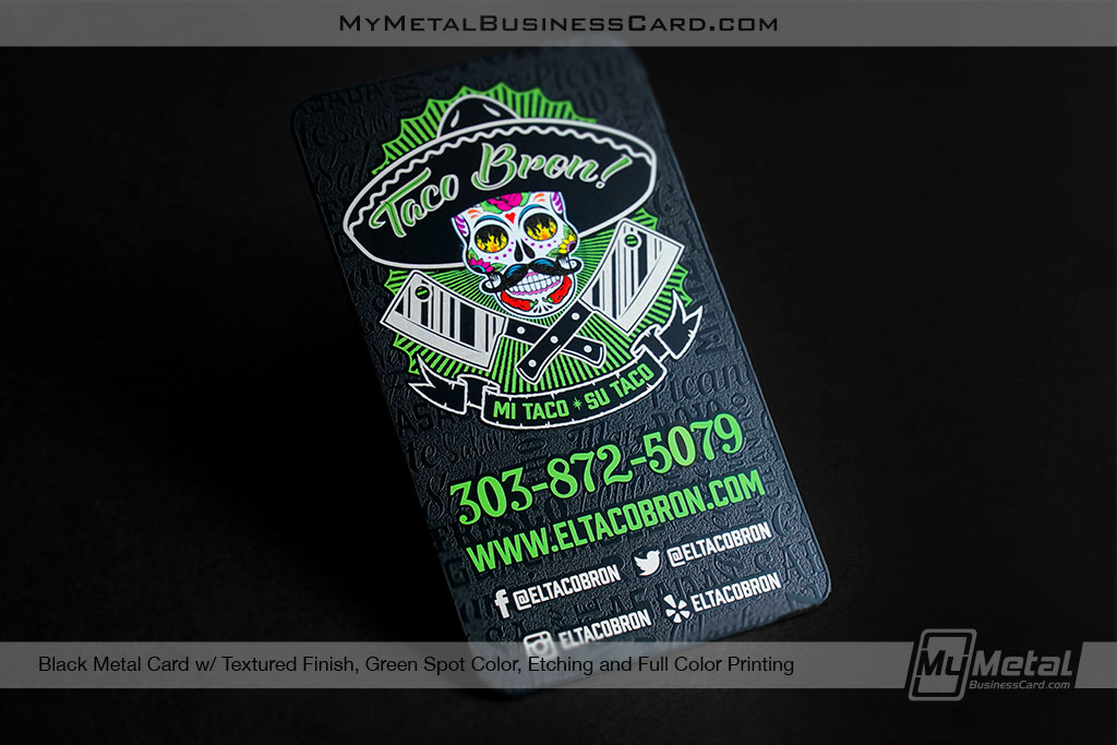 Black-Metal-Business-Card-with-Textured-Fiinish-for-Hip-Taco-Restaurant