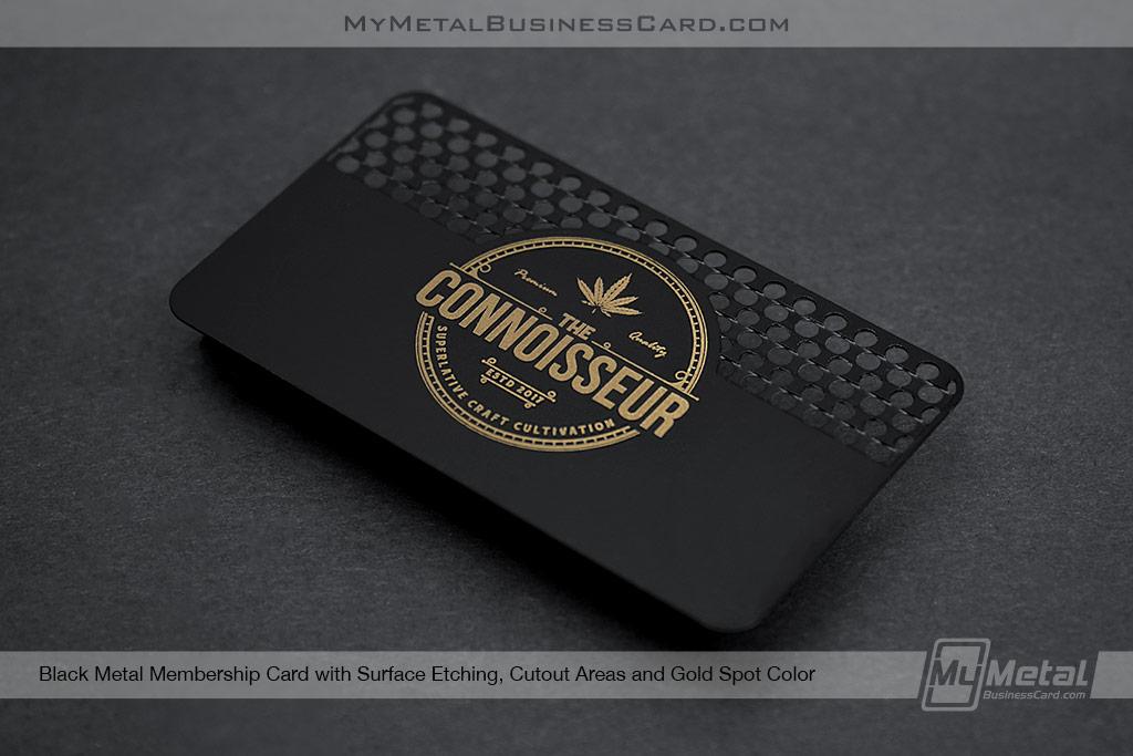 Black-Metal-Membership-Card-with-Weed-Grinder-Cutout-Pattern