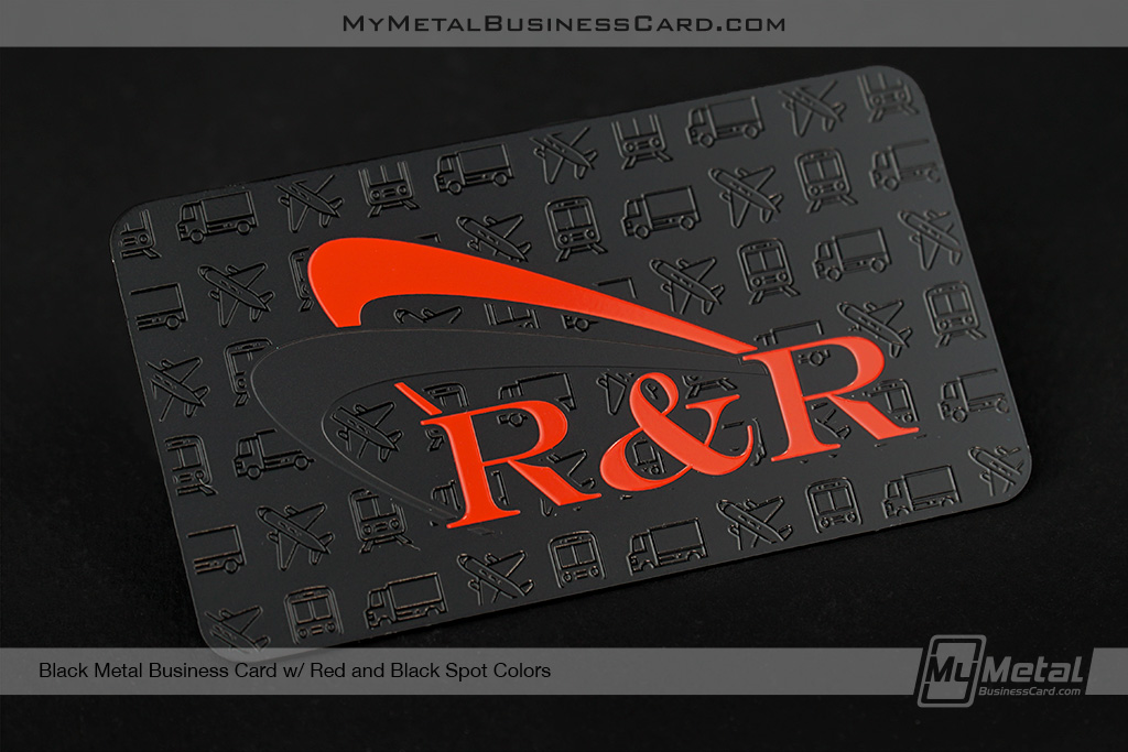 Black-Metal-Business-Card-With-Red-and-Black-Spot-Colors-and-Travel-Debossed-Icons
