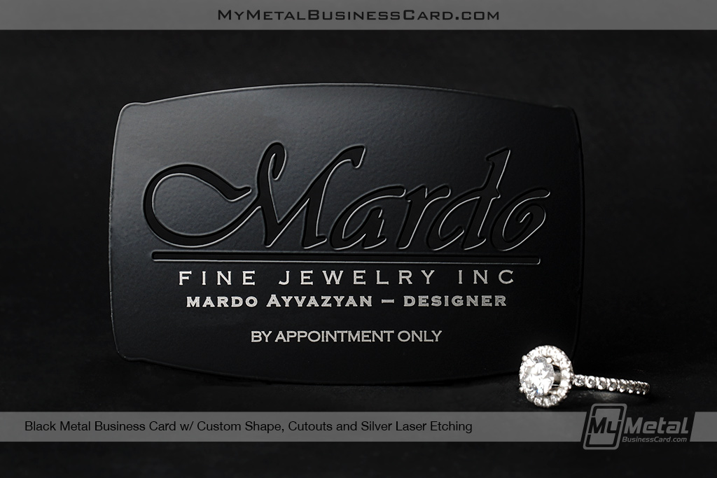 Black-Metal-Business-Card-With-Custom-SHape-For-Fine-Jewelry-Maker