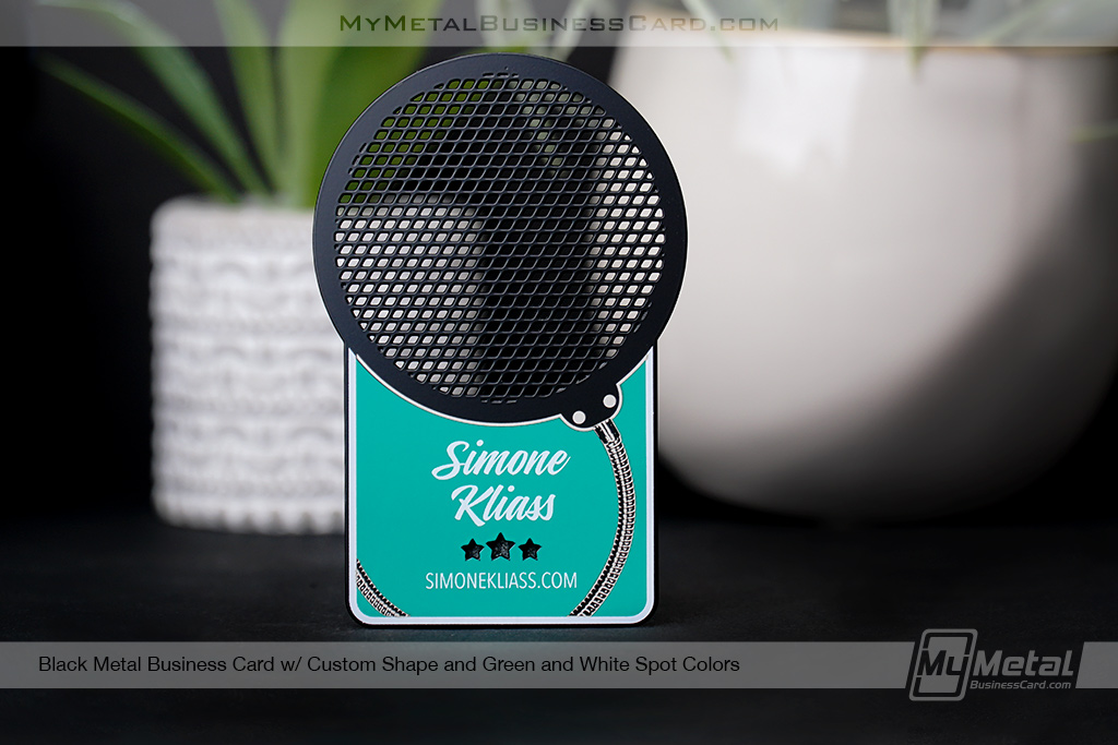Black-Metal-Business-Card-With-Custom-Speaker-Microphone-Shape-for-Radio-Personality