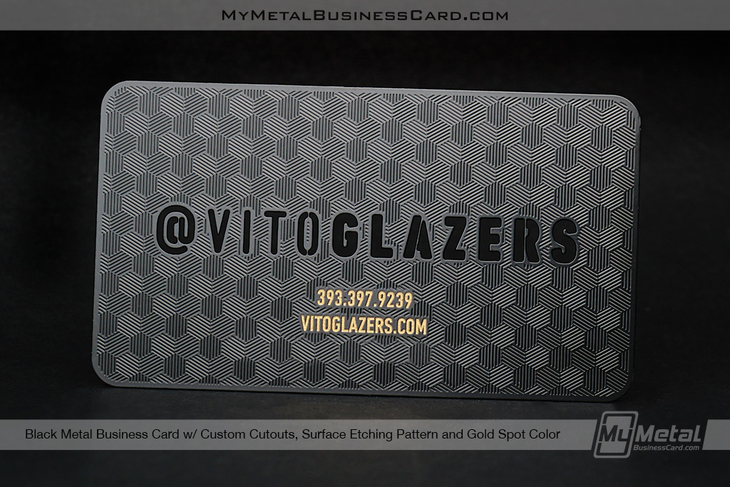 Black-Metal-Business-Card-With-Custom-Cutouts-and-Surface-Etching-Patern-for-Vito-Glazers