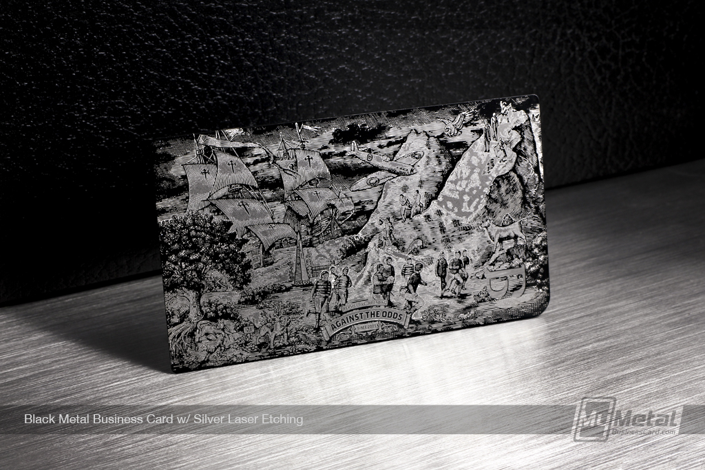 Black-Metal-Business-Card-With-Silver-Laser-Etching
