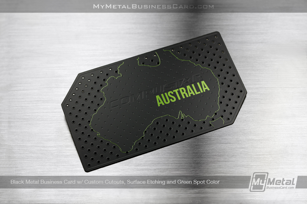 Black-Metal-Business-Card-For-Compustar-Australia-Custom-Cutouts-Surface-Etching-Green-Spot-Color