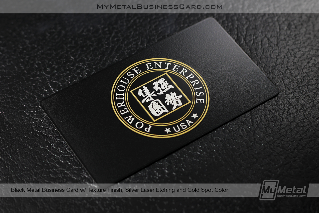 Black-Metal-Business-Card-With-Textured-Finish-Silver-Laser-Etching-And-Gold-Spot-Color