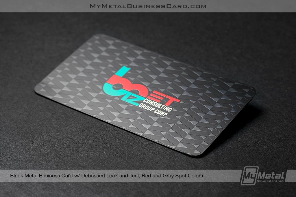 Black-Metal-Business-Card-With-Debossed-Look-Red-Teal-Gray-Spot-Colors