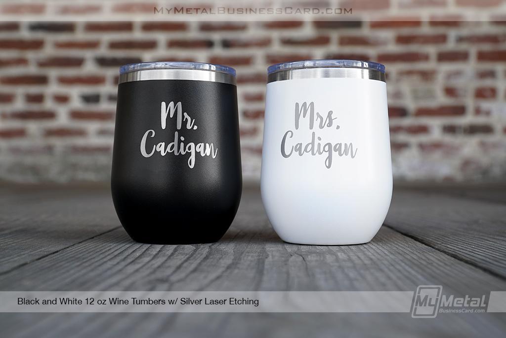Black-and-White-Metal-12-oz-Wine-Tumbler-Mr-Mrs-Wedding-Logo