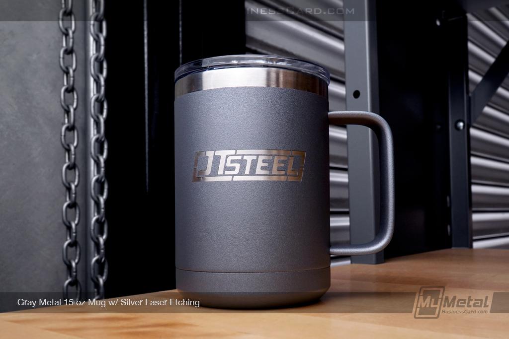 Gray-Metal-15-Ounce-Mug-Silver-Laser-Etched-Logo-JT-Steel